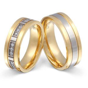 2 Partnerringe Eheringe Hochzeitsringe Titan Zirkonia inkl. Gravur - T10HD