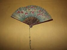 "VINTAGE  ANTIQUE 8 1/2"" HIGH   FLOWERS  OLD HAND FAN"