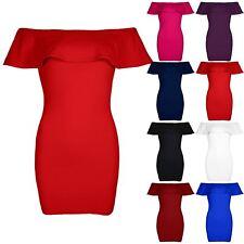 Ladies Womens Peplum Ruffle Frill Off Shoulder Bardot Bandage Bodycon Mini Dress