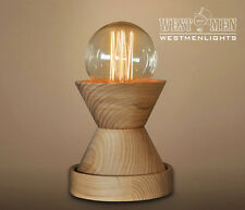 Vintage Retro Wooden Hourglass Shade Table Desk Lamp Dimmer Bedroom De