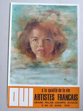 Affiche originale 1975 PRENOT Portrait Jeune fille Grand Palais