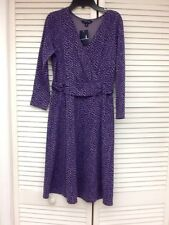 Lands' End 3/4 Slv Ponte Faux Wrap Dress,Sour Grape Herringbone, Sz M 10-12,NWT
