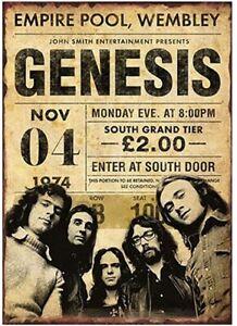 Genesis Concert Poster Vintage 1974 A5