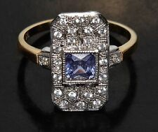 "9ct Yellow Gold on Silver Ceylon Sapphire ""Victorian Design"" Cluster Ring size P"