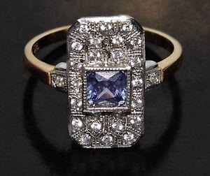 9ct Gold on Silver Ceylon Sapphire Victorian Design Cluster Ring size L