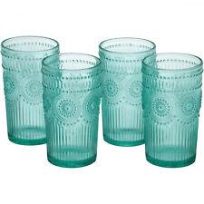 Turquoise 16-Oz Emboss Glass Tumbler Set Of 4 Durable Drinking Glasses Drinkware