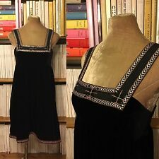 FREE PEOPLE black velvet smock empire dress embroidered S UK 8-10 / US 4 - 6