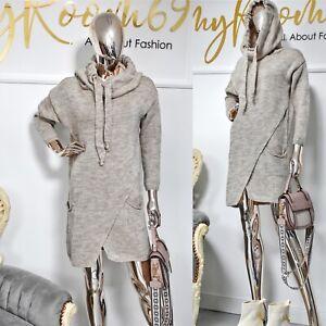 Damen Feinstrick Tunika Strickkleid mit Kapuze Pullover Rollkragenkleid