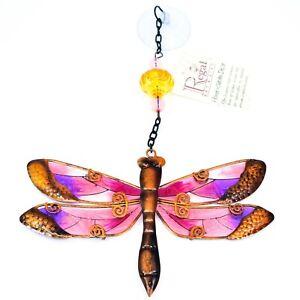 Regal Art & Gift Hand Painted Metal Glass Dragonfly Sun Catcher Suncactcher