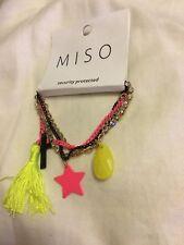 NEUF avec etiquette Miso fluo chaîne Wristwear Cross Star DIAMO ACHETER DEUX cho...