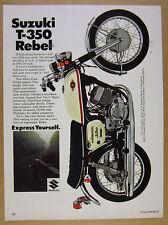 1969 Suzuki T-350 T350 Rebel motorcycle color photo vintage print Ad