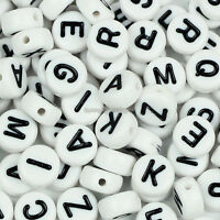 100 Acrylic Single Letter A-Z White Flat Round Disc ALPHABET Spacer Beads 7x4mm