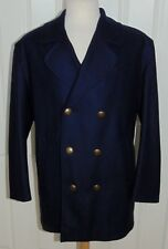 NEW GLOVERALL NAVY BLUE DOUBLE BREASTED PEA COAT METAL ANCHOR BUTTONS 42