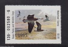 1985 TX-5 TEXAS State  Waterfowl Duck Stamp MNH Snow Geese *