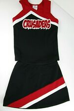 """NEW CRUSADES Cheerleader Uniform Cheer Outfit Youth Teen 32"""" Top 24 Waist RED"""