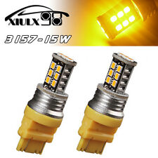 2x Amber/Yellow 3157 High Power 15W Turn Signal Parking LED Light Bulbs 3157A