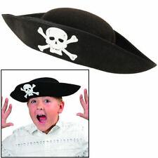 Kids Felt Pirate Hat Black w/ Skull & Bones Patch Bulk (Pack of 12 Hats)