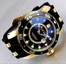 Invicta Mens Scuba Pro Diver GMT Quartz 18K Gold-Plating Blue Dial Luxury Watch