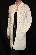 M~L NOS Vtg 60s White Open Knit Lady Vanderbilt Long OPEN Sweater Coat Jacket