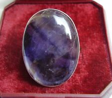 SOLID BLUE JOHN CABOCHON, SET IN STERLING SILVER RING size R