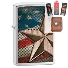 Zippo 28653 retro star and flag Lighter + FUEL FLINT WICK POUCH GIFT SET