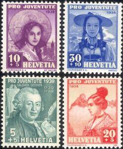 Switzerland 1938 Welfare Fund/Costumes/Clothes/Textiles/Hats 4v set (ch1027)