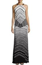 NEW HALSTON HERITAGE HALTER NECK STRIPED MAXI DRESS, BLACK/BONE, SIZE 2