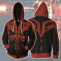 Men's Star Wars Darth Maul Cosplay Hooded Sweatshirt Jacket  Full Zip Up Hoodie