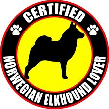 "Certified Norwegian Elkhound Lover 4"" Dog Sticker"