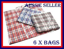 Jumbo Extra Large Stripe Checkered Carry Storage Bag For Moving Or Packing 6PK