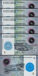 Nicaragua 5 Cordobas 2019, UNC, 5 Pcs LOT, Polymer, Comm, Prefix A 00*****,P-New