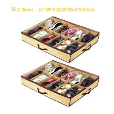 2 pcs Men Shoe Organizer  Box with 12 Cells Under Bed Closet Home Storage Box