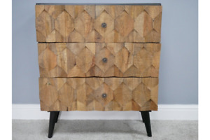 Reclaimed Mango Wood Carved Drawer & Iron Drawer Chest