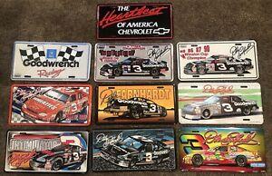 VTG NOS 90's LOT OF 10 METAL LICENSE PLATES DALE EARNHARDT GOODWRENCH NASCAR