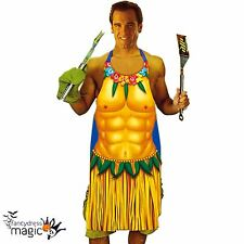 Mens Hawaiian Hunk Delantal BBQ Chef Hierba Falda Lei Gracioso Stag Fancy Dress Costume