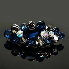 USA BARRETTE use Swarovski Crystal Hair Clip Hairpin Jeweled Elegant BLUE NEW 01