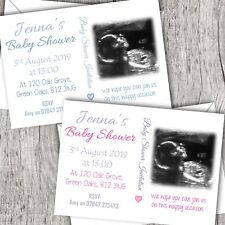 Personalised Baby Shower Invitations ~ Your own photo/scan ~ Baby Girl/Boy D1