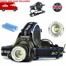 CREE XM-L T6 2500Lm LED 2x 18650 Headlight Rechargeable Headlamp Head Torch UK