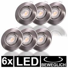 6x LED Einbau Spots rund Decken Leuchten beweglich nickel Schlaf Zimmer Lampen