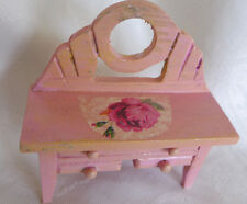 HANDMADE WOOD PAINTED DRESSER TABLE IN PINK DECOPAGE  FOR DOLL HOUSE HOMEDECOR