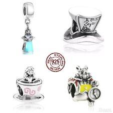 x4 Alice in Wonderland charm Bundle 925 Sterling Silver Bracelet Bead Rabbit