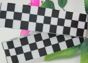 "1m CHEQUERED FLAG FORMULA 1 RACING POLICE RIBBON 5/8"" 16mm GROSGRAIN"