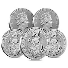 Lot of 5 - 2018 Great Britain 2 oz Silver Queen's Beast (Unicorn of Scotland)