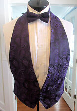 MENS VINTAGE FORMAL VEST PURPLE PASILEY SHAWL LAPEL BOW TIE SIZE OSFA NB4