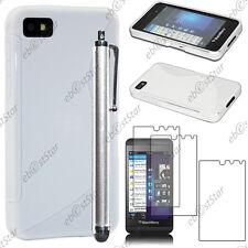 Housse Etui Coque Silicone S-line Blanc BlackBerry Z10 + Stylet + 3 Film écran