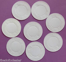 "WHITE EMBOSSED GREEK DESIGN PAPER COASTERS / DOILY CIRCLES 8 CM or 3.2""  x 20"