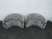 Hollywood Regency Pair of Vintage Faux Fur Ottomans Benches Stools 9643