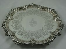 More details for magnificent , victorian silver salver, 1876, 764gm