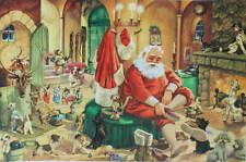 vintage Santa's Christmas at Home lots of Puppies and reindeer