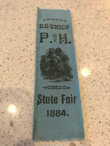 1884 Reunion Ribbon Ohio State Fair Columbus Ohio Patron of Husbandry Grange